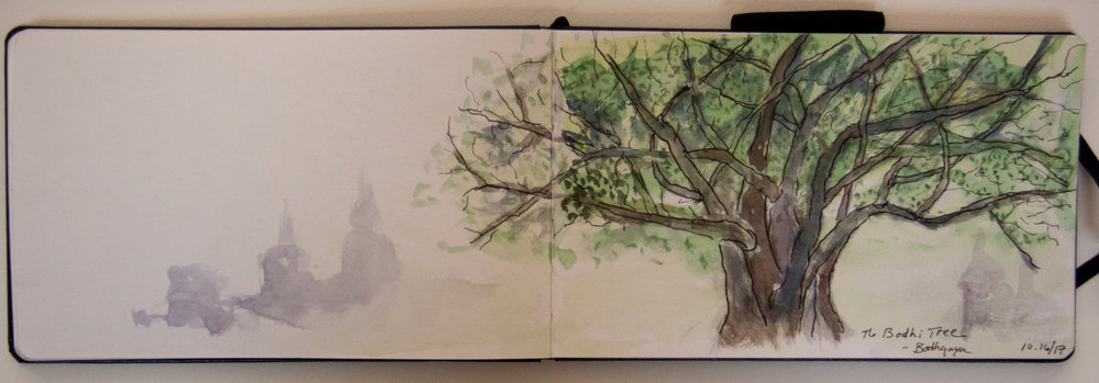 The Bodhi Tree, India sketchbook, LH