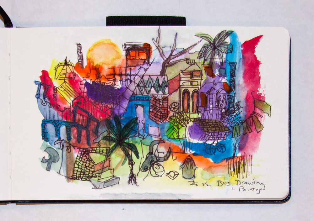 Painting from the bus window, India sketchbook, LH