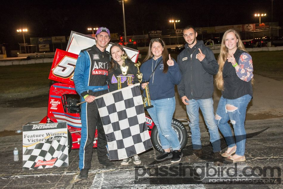 Joey Bailey in Victory Lane at Waterford.