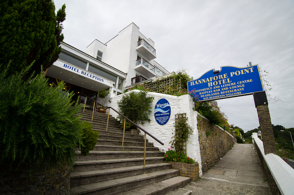 The entrance to the Hannafore Point Hotel