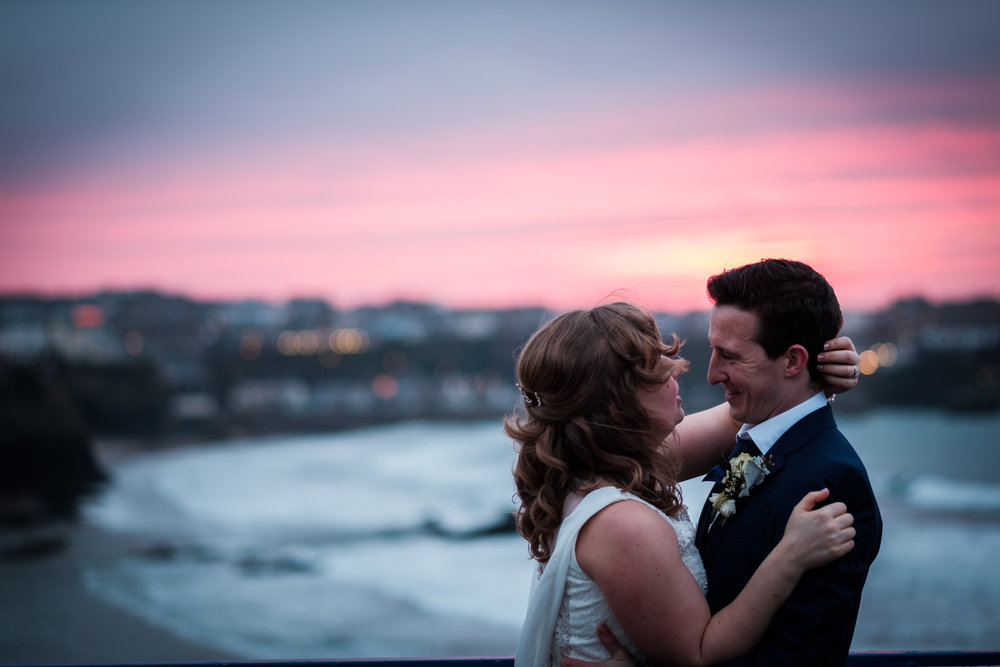 Sunset wedding shot