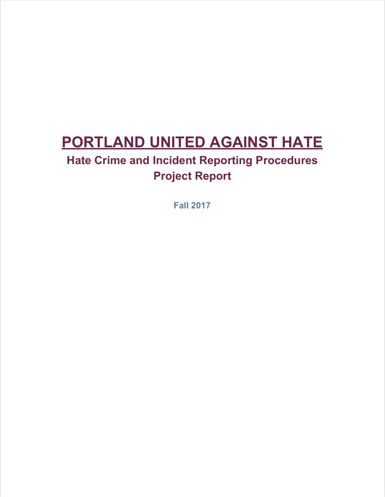 Portland United Against Hate: Hate Crime and Incident Reporting