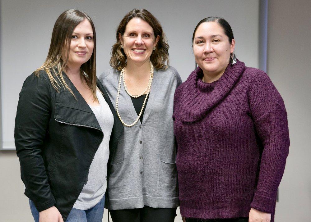 Anna Allen (Shoshone-Bannock), County Chair Deborah Kafoury, and Olivia Walker (Meskwaki)