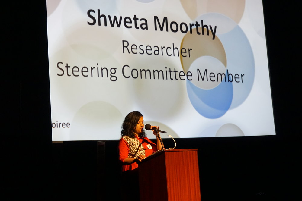 Shweta Moorthy, CCC Researcher, introducing  Leading with Race: Research Justice in Washington County