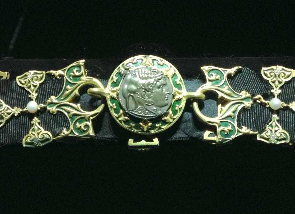 Enamel Roman coin style bracelet