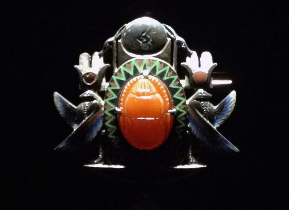 Scarab brooch with peacocks