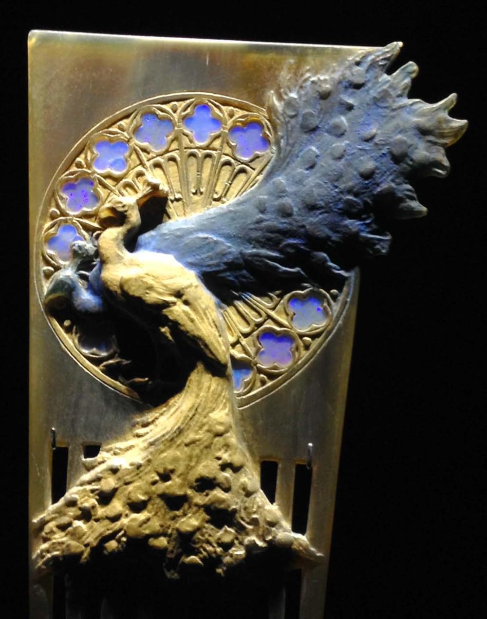 Art nouveau peacock comb