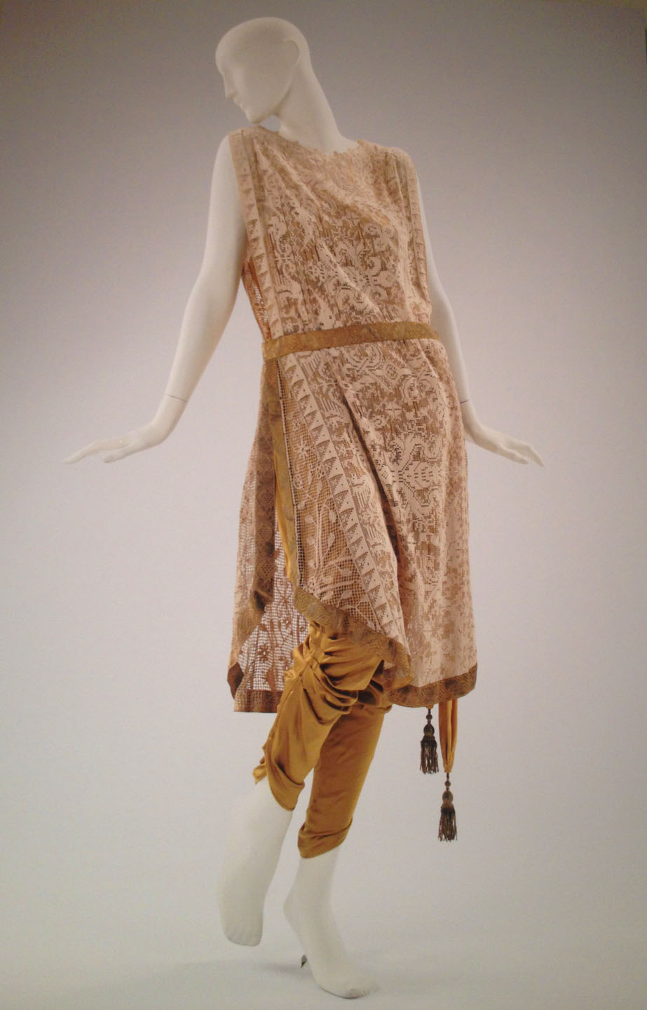 Callot Soeurs, evening ensemble, ca. 1910 yellow silk charmeuse jumpsuit