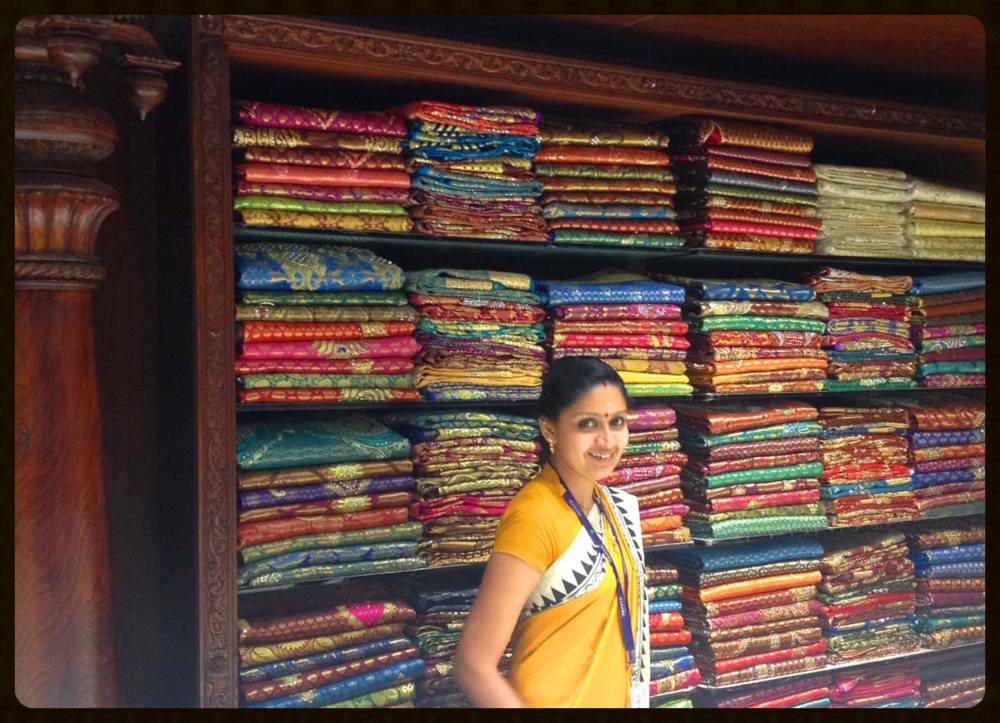 Always eager to help, the staff at Pothys relish showing off the gorgeous fabrics they carry. Thousands of types, colors, styles and weaves of saris and textiles for the multitude of customers are on hand ready for purchase.