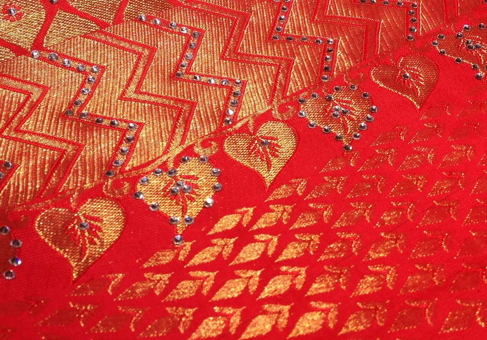 Just a sample of one of the many Swarovski embellished saris found at Pothys