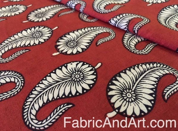 Red and white blockprinted fabric