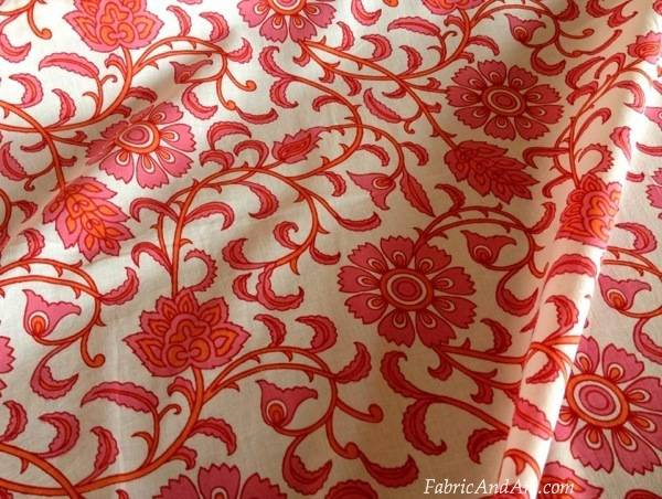 Pink floral Indian fabric
