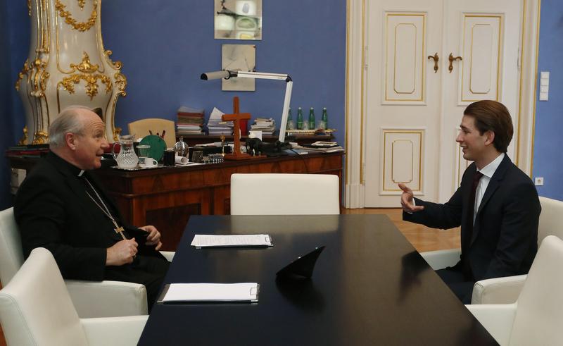 Außenminister Sebastian Kurz trifft Kardinal Christoph Schönborn. Wien. 12. Jänner 2016 Photo: Dragan Tatic