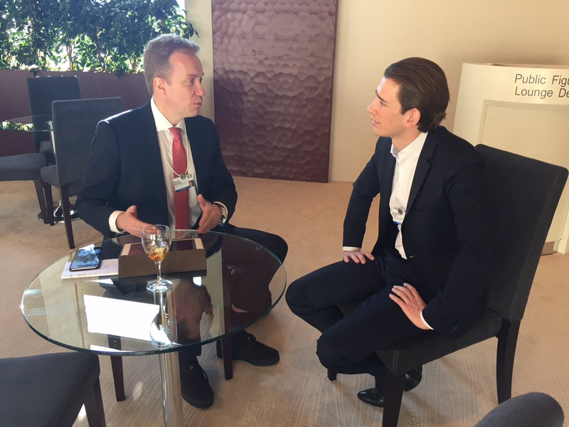 Außenminister Sebastian Kurz trifft norwegischen Amtskollegen, Borge Brende, in Davos. 22. Jänner 2016. Photo: BMEIA