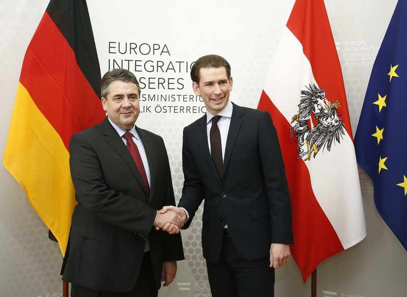 Sigmar Gabriel, der neue deutsche Außenminister, war erstmals für ein offizielles Arbeitsgespräch mit Bundesminister Sebastian Kurz in Wien. 27. Februar 2017. Photo: Dragan Tatic