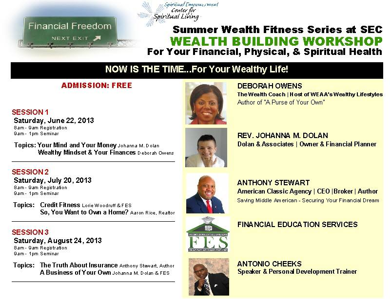 Summer Wealth Fitness Series at the Spiritual Empowerment Center, Baltimore, MD.  Wealth Building Workshops for your financial, physical and spiritual health.
