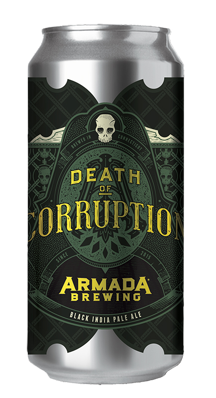 Death of Corruption Black IPA 7.5% 90 IBUs  Roasty and Delicious Black IPA Dry Hopped with Simcoe, Columbus and Amarillo