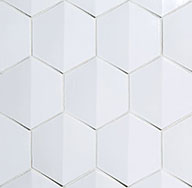 Crest  Crest is a sheet-mounted 4-inch dimensional hexagon ceramic tile with a slightly raised center.