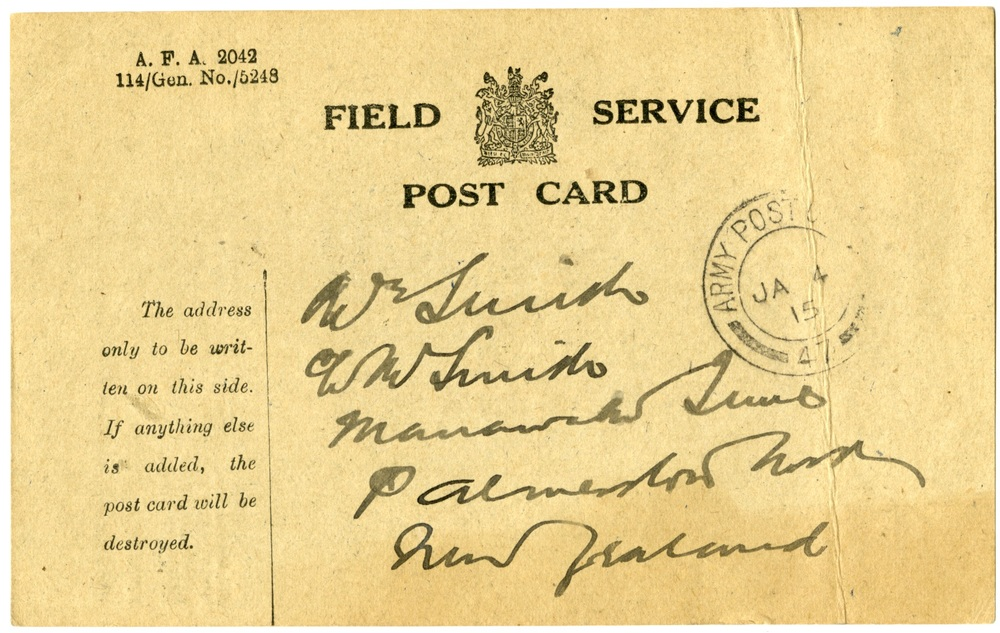 Postcard from Dr A.A. Martin to W.H. Smith