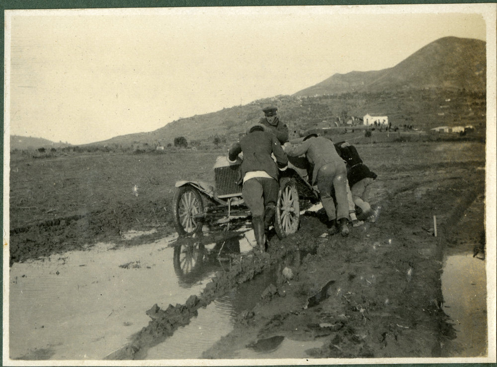 """Pushing our old Ford out of the mud, Imbros"""
