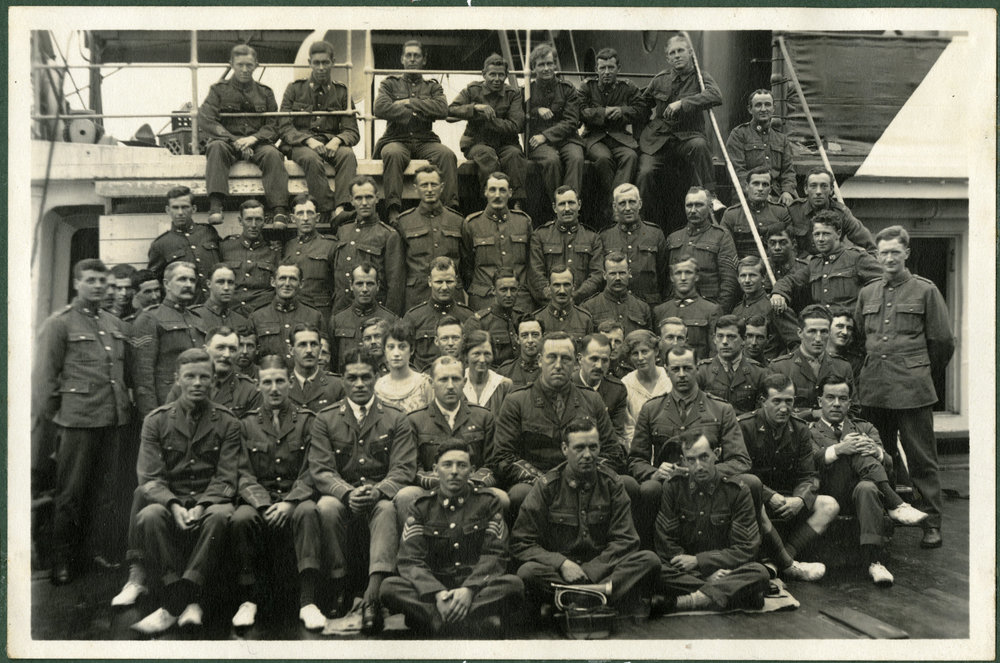 """1914-1915 Men on HMT Athenic. 1918. At Sea."""