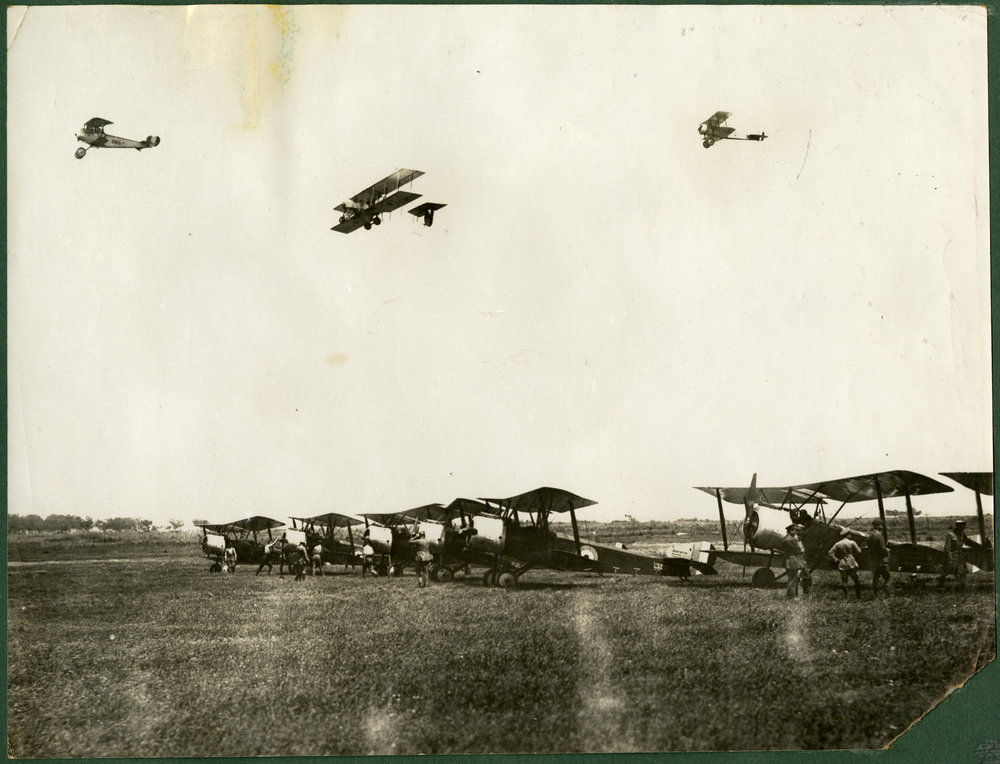 """F Flight Leaving on bombing raid. Thasos."""