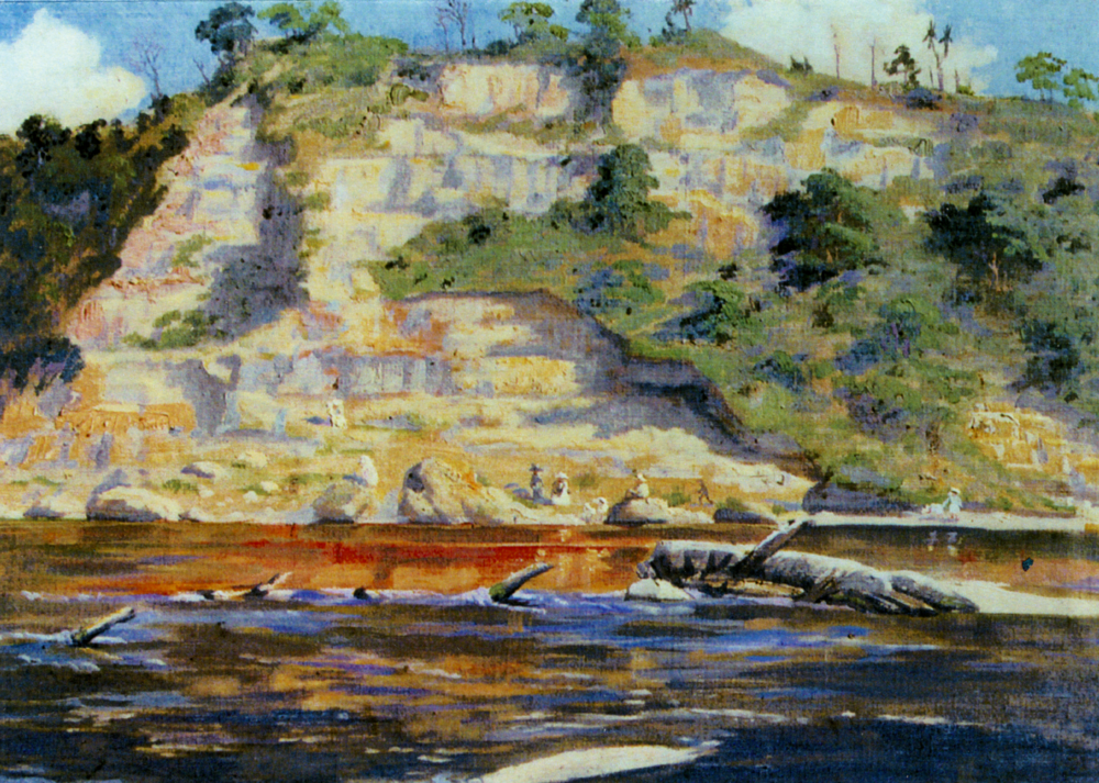 Figure 5: Painting by Harold Anderson showing a picnic party below the towering cliffs of ANZAC Park, 1917.  Reference: Research File A175/61/6, Ian Matheson City Archives