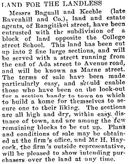 Figure 1: An article from the Manawatu Times detailing the subdivision of the area and creation of Marne Street. Reference: Manawatu Times, Volume XL, Issue 13369, 7 April 1916, Page 6.