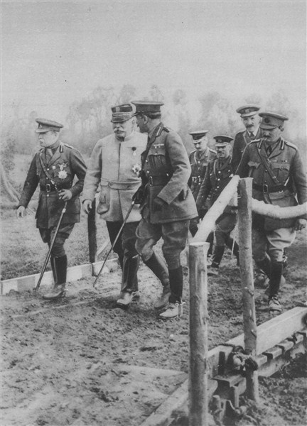 Figure 5: The commanders of allied forces during the First Battle of the Marne: Field Marshal Joffre (2nd from left) and General French (centre) touring the frontlines, 1915. Reference: The Great War: The Standard History of the All Europe Conflict, vol. IV. Edited by H. W. Wilson and J. A. Hammerton, Amalgamated Press, London, 1915.