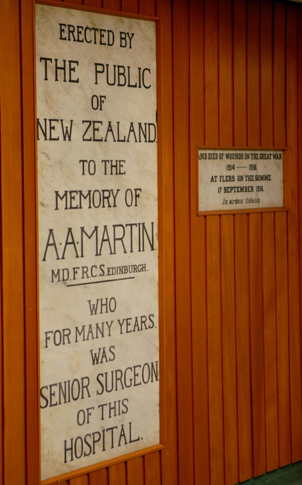 Figure 5: The memorial to Dr A A Martin located in the Palmerston North Hospital. Reference: Photograph by Evan Greensides, Ian Matheson City Archives, 2015