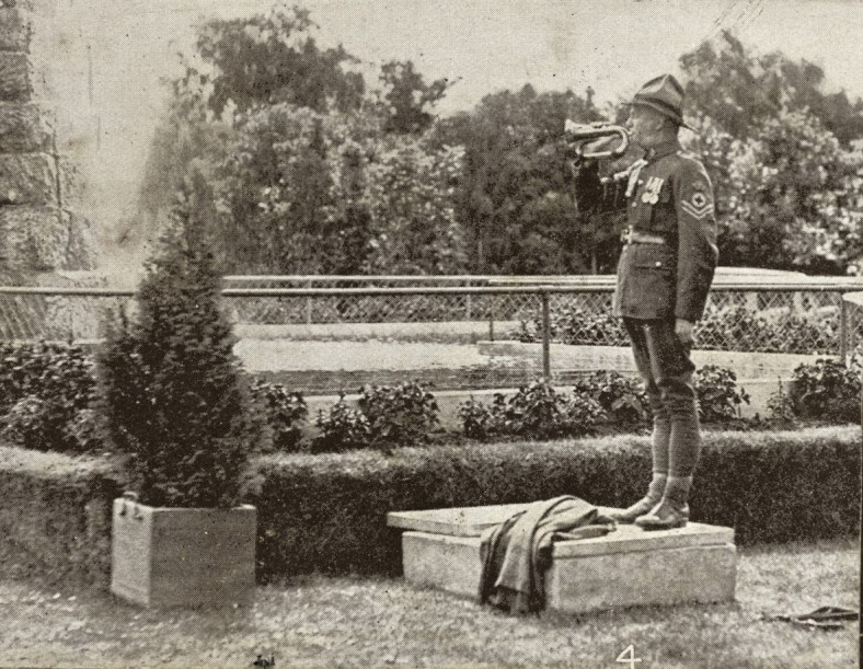 Photo from page 88 WWI Photography Album of Sgt William McWilliams - Egypt, Gallipoli and Western Front. New Zealand Medical Corps bugler blows the Last Post at the unveiling.