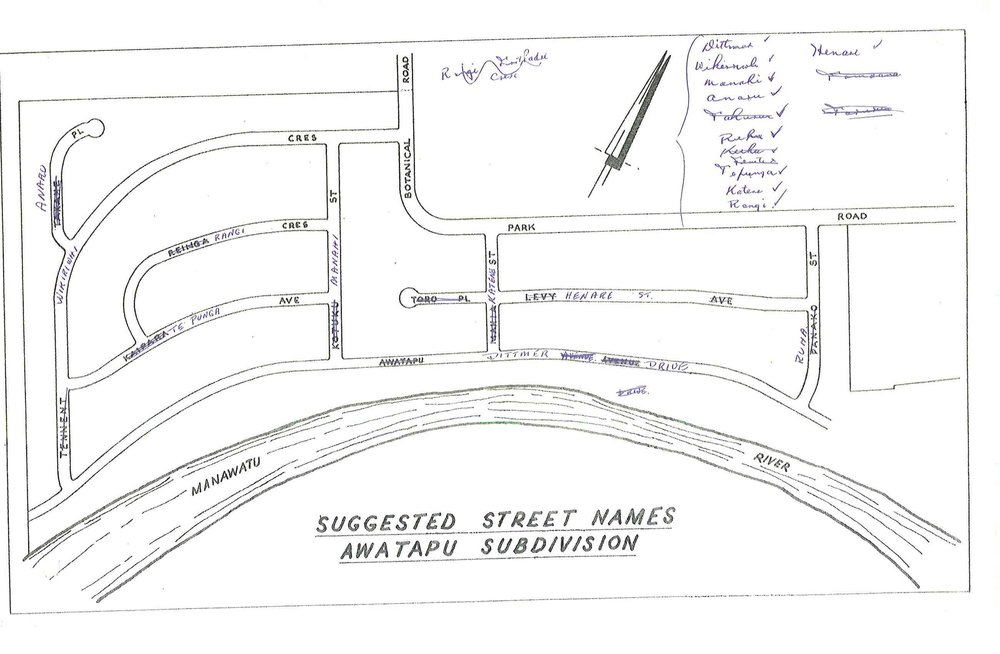 Figure 2: Palmerston North City Council drawn map of 1964 showing the original names of the Awatapu subdivision streets, with Awatapu Avenue being renamed Dittmer Drive. Source: Ian Matheson City Archives, Series 1/5/5, Volume 75/8/1, part 1.