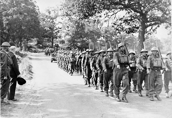Figure 4: Winston Churchill, with Lieutenant-Colonel Dittmer at his side, watches D Company's 16 Platoon march past in England in 1940 Source: 28th Māori Battalion website, URL: http://www.28maoribattalion.org.nz