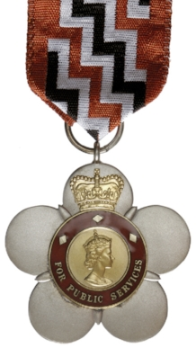 Figure 7: The Queen's Service Order (QSO), an example of which was awarded to Wiremu Huata in 1990 for 'services to the community. Source: New Zealand Defence Force website. Accessed 12 July 2016. URL:      http://medals.nzdf.mil.nz/category/b/b7.html