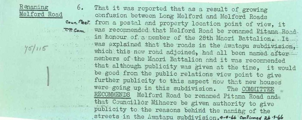 Figure 2: Extract from Palmerston North City Council minute book confirming the change of name from Melford Road to Pitama Road. Source: Ian Matheson City Archives, Series 1/5/5, File 75/115, part 1.