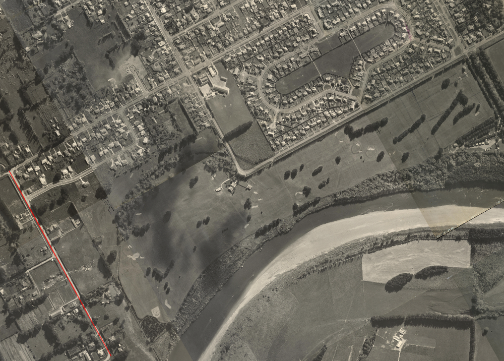 Figure 3: Aerial map dated 1956 showing Melford Road (left, marked in red) before it was renamed Pitama Road. The Awatapu Golf Course (centre) and Savage Crescent (top right) are evident. Source: GIS Maps via Palmerston North City Council. Accessed 4 October 2016.