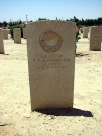 Figure 6: Grave of Sergeant Eutahi Tahu Mataa Pitama in the El Alamein War Cemetery, Egypt. Source: The War Graves Photographic Project, 'Pitama, Eutahi Tahu Mataa'. Accessed 6 October 2016. URL:      https://www.twgpp.org/photograph/view/2250984