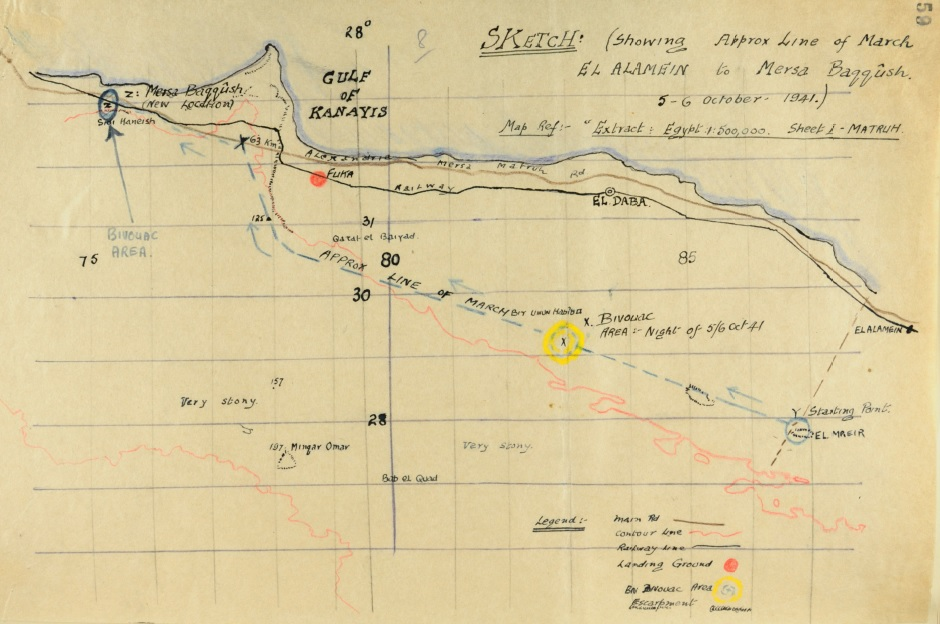 Figure 5: October 5th 1941 - the 28th Māori Battalion move 80 miles west to Mersa Baggush. Source: Archives New Zealand, reference: 28 NZ (Māori) Battalion Diary, WAII 1 1664 D 68/1/22, p. 59. Accessed 28 September 2016. Source:      http://www.nzhistory.net.nz/files/documents/28mb/DetailandMap.pdf