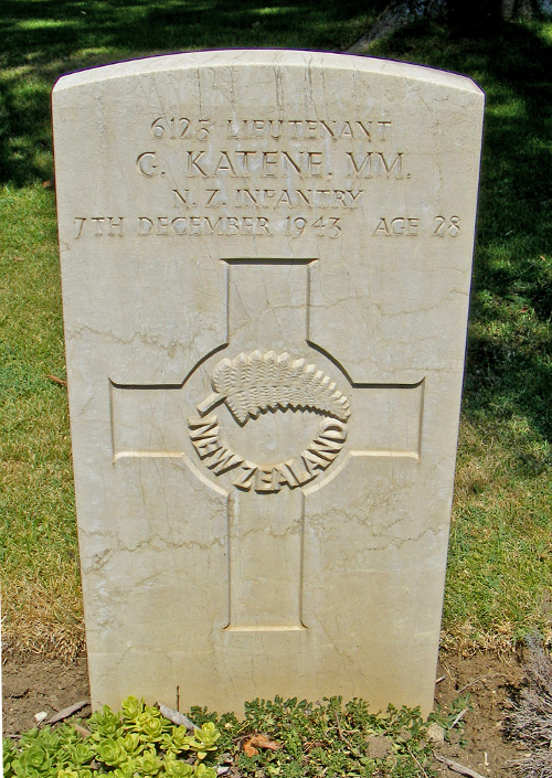 Figure 7: Lieutenant George Katene's grave in the Moro River Cemetery. Source: The War Graves Photographic Project. Photograph by Steve and Sandra Rogers. Accessed 27 September 2016. Source: https://www.twgpp.org/photograph/view/1969316