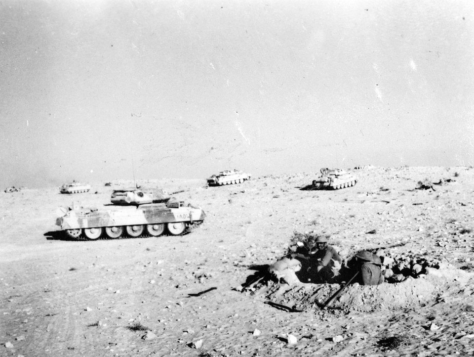 Figure 4: British tanks providing support on Ruweisat Ridge, 1942. Source: National Army Museum website, 'A' Squadron hull down on Ruweisat Ridge in support of infantry attack, 1942. URL: https://collection.nam.ac.uk/detail.php?acc=1975-03-63-8-53