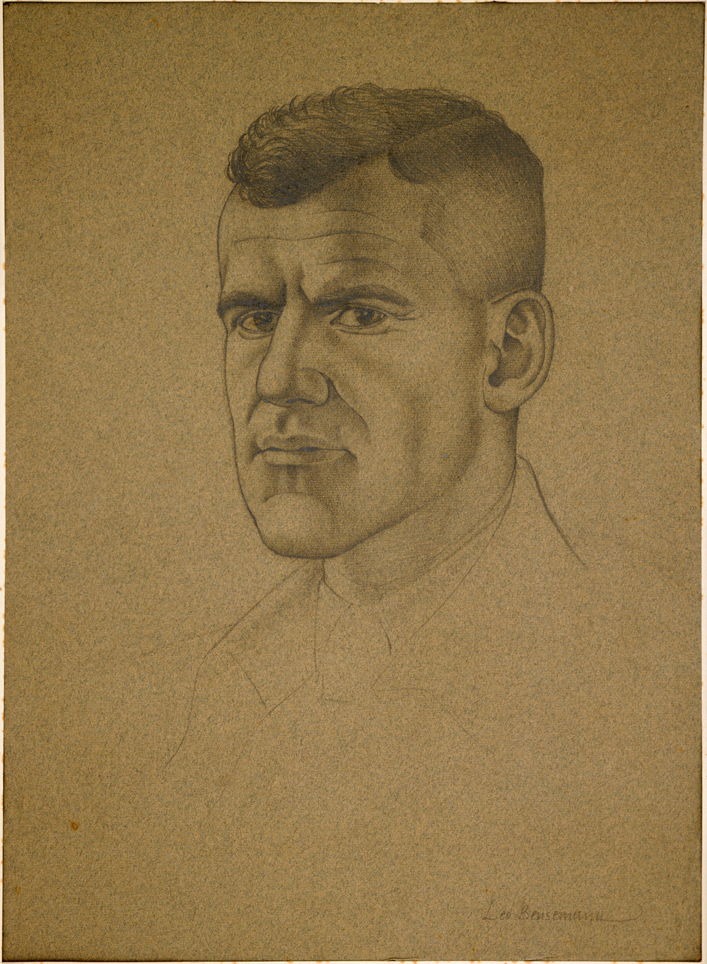 Figure 5: Portraiture sketch of Lieutenant Keith Elliott by Leo Bensemann. Source: Archives New Zealand, War Art, ref: AAAC 898 NCWA Q552. URL: http://warart.archives.govt.nz/node/616