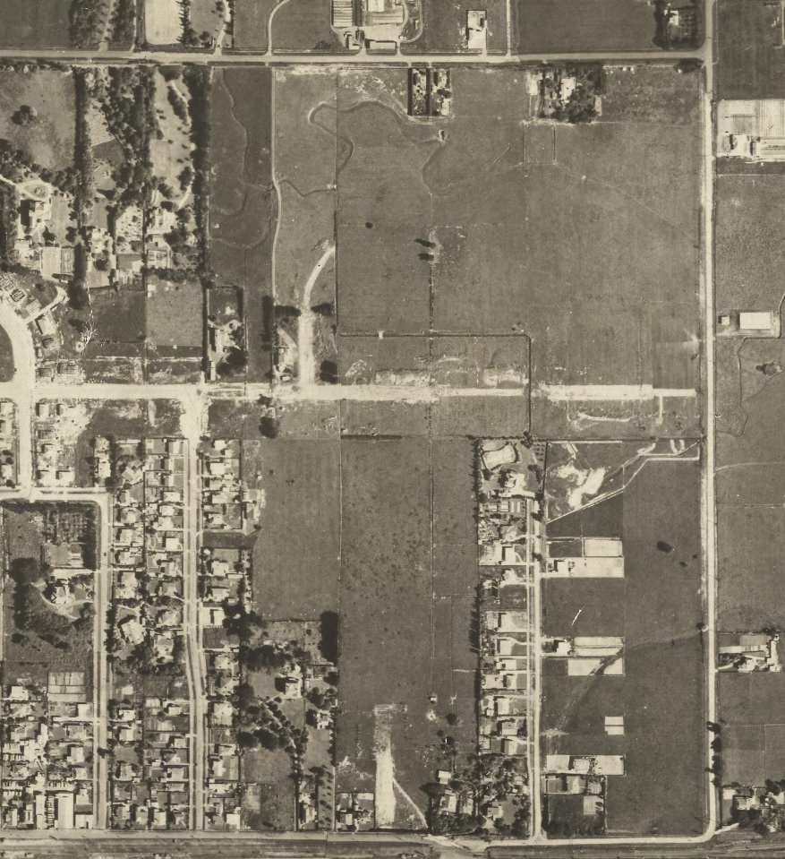 Figure 2: A 1945 aerial map showing the very beginning of the development of the Roslyn subdivisions. Upham Terrace is visible at bottom middle as under construction, between Karina Terrace and Weston Avenue. Source: Ian Matheson City Archives, PNCC Series 4/21/1. Aerial Map, Palmerston North, 1945.