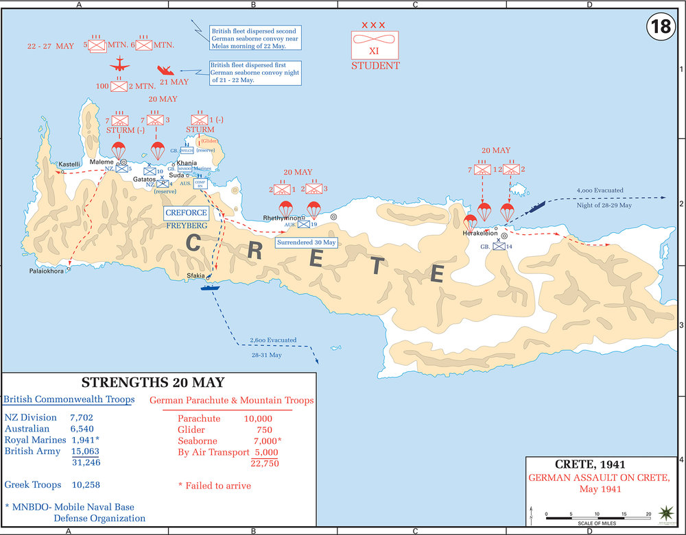Figure 4: Landing areas of German forces and the retreat routes of Allied forces on Crete, May 1941. Source: United States Military Academy West Point - Atlases. URL:http://www.usma.edu/history/SiteAssets/SitePages/World%20War%20II%20Europe/WWIIEurope18.gif
