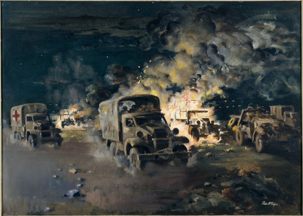 Figure 7: Peter McIntyre's painting, The Breakthrough, Minqar Qa'im, showing the havoc wrought on both sides as New Zealand troops escaped encirclement during the night of 27-28 June 1942. Source: Archives New Zealand. War Art. Reference: AAAC 898 NCWA 20. URL:http://warart.archives.govt.nz/node/78