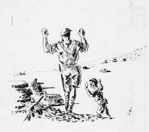 Figure 8: In 1945, on his voyage back to New Zealand, Nevile Lodge made this sketch of his capture at Ruweisat Ridge in Egypt on 15 July 1942. Captain Upham and 350 men were made POWs after the action. Source: Alexander Turnbull Library. Reference: DA-00226. URL:https://natlib.govt.nz/records/22723440