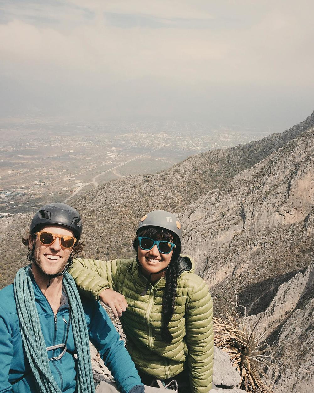 Bryan and me on the summit of Black Cat Bone (10d) with Hidalgo in the background.