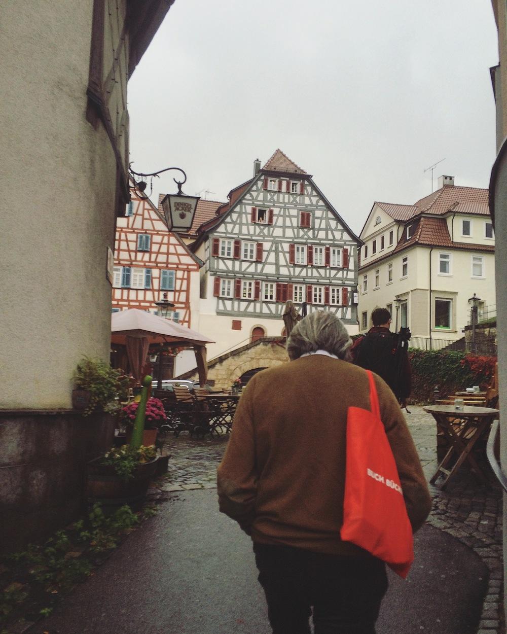 Gershom strolling through drizzling Backnang