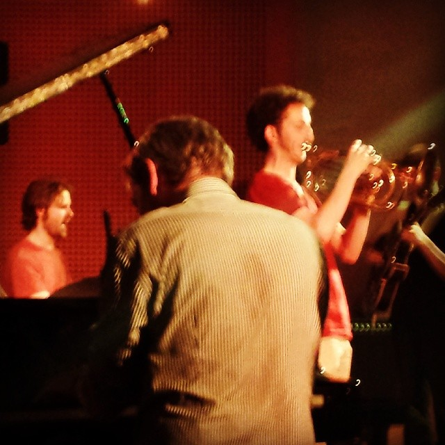 Jeff with trombonist Alistair Duncan at a jam session in Berlin, Germany.