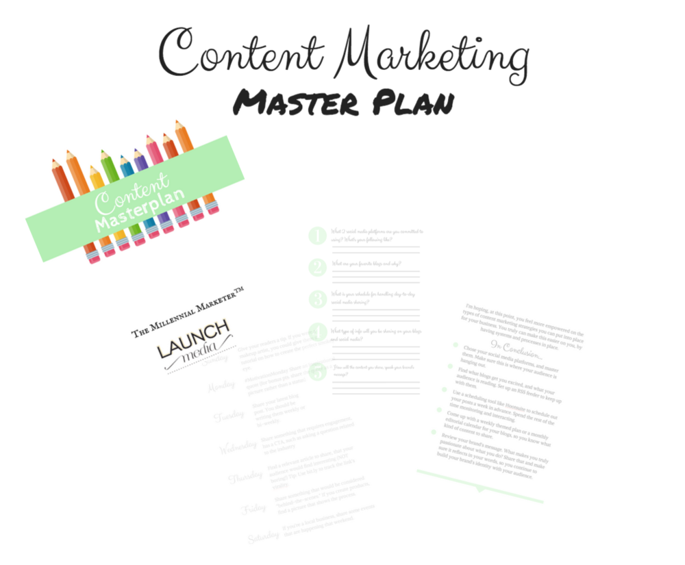 A FREE PDF + WORKBOOK TO SPRUCE UP YOUR CONTENT MARKETING MASTERPLAN! FREE TIPS ON BLOGGING, SOCIAL MEDIA, AND MORE!