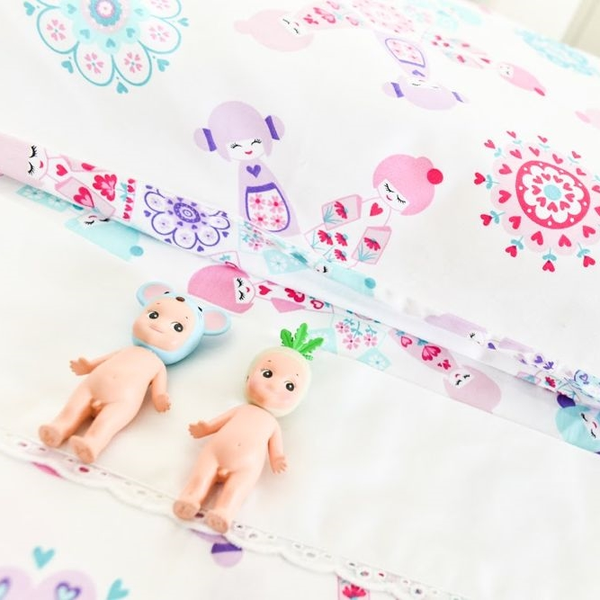 Organic Cotton Sheet Set - Moonlit Sleep - Doll Picnic Design